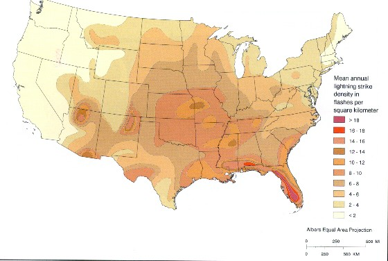 Solar Lightning And Lightning Protection - Map of lightning strikes in the us